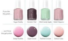 For your clients who are loyal to Essie, introduce them to Essie Gel for the best of both worlds. Essie Gel Polish, Gel Polish Colors, Nail Colors, Gel Nails, Mani Pedi, Manicure, Mint Candy, Candy Apples, Nails Magazine
