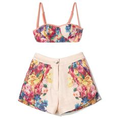 Bed of Begonias Bra ($280) ❤ liked on Polyvore featuring shorts, dresses, modaoperandi, swim and manning cartell
