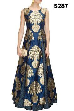 Navy Blue Rawsilk Dress ,Indian Dresses - 1