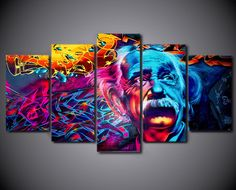 5 Pcs Albert Einstein Abstract Canvas - 5 piece Most Intelligent Man On Planet Canvas For Your Home/Office Room 5 Piece Canvas Art, Canvas Artwork, Canvas 5, Dragon Ball, Home Office, Graffiti, 5 Panel Wall Art, Wall Art Prints, Canvas Prints