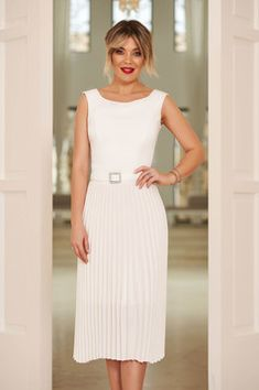 StarShinerS white elegant sleeveless folded up dress accessorized with tied waistband with embellished accessories Baptism Dress, Dress Cuts, Folded Up, Body Measurements, Soft Fabrics, Size Clothing, New Dress, Dress Outfits, Curvy