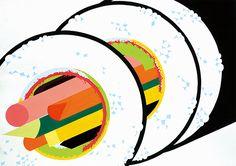 平面構成「お寿司」をテーマに構成/B3サイズ Design, Art Design, Asian Art, Illustrations And Posters, Illustration, Geometry Design, Food Illustrations, Composition Design, Grafik Design