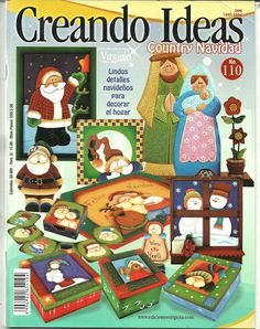 Foto: Book Crafts, Crafts To Do, Christmas Crafts, Christmas Ornaments, Craft Books, Punch Needle Patterns, Craft Patterns, Tole Painting, Fabric Painting
