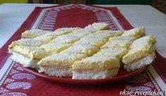 Hozzávalók: Tészta: 6 tojás fehérje 25 dkg porcukor 10 dkg liszt 15 dkg kókuszreszelék Krém: 6 tojás sárgája fél l tej 20 dkg cukor egy csomag...