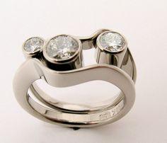 Hand Made and Hand Forged 18k White gold Double by WatertonJewelry, $8550.00