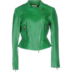Ki6? Who Are You? Jacket ($464) ❤ liked on Polyvore featuring outerwear, jackets, green, leather biker jacket, long sleeve jacket, real leather jacket, multi pocket jacket and green leather jacket