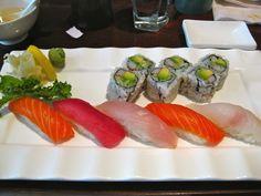 Tuna, Yellowtail, Fluke, Salmon and California roll #food #foodporn #sushi