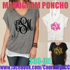 Custom monogrammed poncho! Perfect for back to school! Cute with jeans and leggings! We do all kinds of custom apparel & accessories! www.Instagram.com/CourtneysCC or www.Facebook.com/CourtneysCC #custom #monogram #monogrammed #preppy #sorority #initials #personalized #college #preppy #dress #socute #BackToSchool