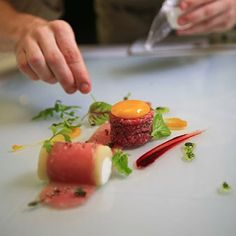 "Beef X2 (Tenderloin & Striploin), Heart of Palm ""bone Marrow"", Egg Yolk Confit, Rum/beetroot Reduction & Papaya Seed Mustard"