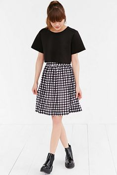 Cooperative Textured Gingham Midi Skirt - Urban Outfitters