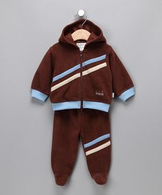 Another great find on #zulily! Brown 'Safe Deposit' Zip-Up Hoodie & Footie Pants - Infant #zulilyfinds