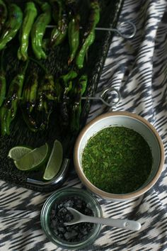 Danae's Grilled Shishitos with Cilantro Dipping Sauce