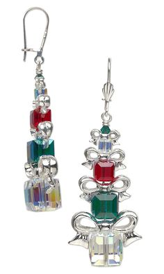 Earrings with Swarovski Crystal Beads and Silver-Plated Pewter Beads - Fire Mountain Gems and Beads