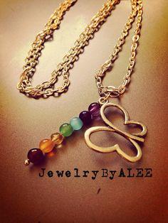 Butterfly chakra necklace  on Etsy, $27.00
