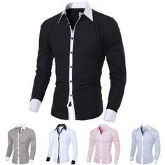 Fashion Men Luxury Stylish Casual Dress Slim Fit T-Shirt Casual Long Sleeve Top | eBay