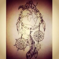 Resultado de imagen de dream catcher compass tattoo