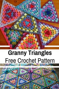 Crochet Granny Square Ideas [Free Pattern Video Tutorial] These Granny Triangles Are Quick And Easy To Make And Look Absolutely Gorgeous! - These crochet granny triangles are a lovely way to play with color and make something beautiful in the process. Granny Square Crochet Pattern, Crochet Afghans, Afghan Crochet Patterns, Crochet Squares, Crochet Motif, Crochet Yarn, Crochet Stitches, Knitting Patterns, Crochet Crafts