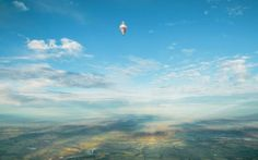 The balloon of Russian adventurer Fedor Konyukhov is seen after it lifted off in his attempt to break the world record for a solo hot-air balloon flight around the globe near Perth, Australia.
