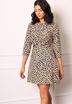 69ea8626ae38 Leopard Spot Fit Flare Mini Dress with Angel Sleeve in Black & Cream – One  Nation