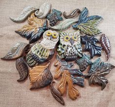 Ceramic mosaic, handmade owls and leaves. Ceramic tile art, oak leaf tile, pine cone tile. Bathroom tile, kitchen tile, fireplace tile.