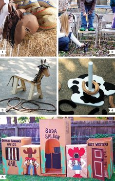 Western birthday party- brown paper stick horse heads; drop clothes pins in a boot; Saw Horses; box western town;...