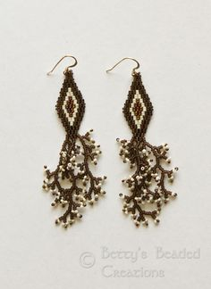 Beaded Brickstitch Diamond Earrings with Branch Fringe