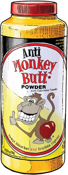 Anti Monkey Butt Powder from Duluth Trading Company is used to reduce chafing, redness, soreness, and itching from the rear, feet, and more.
