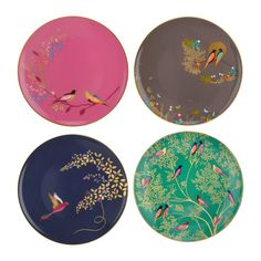 Host an elegant tea party with this set of four Chelsea Collection Cake Plates from Sara Miller. Made from fine china, they come in four complementing colours and feature four charming bird designs. E
