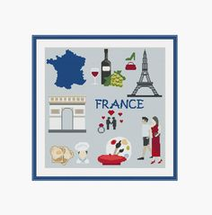 France cross stitch France map Paris Eiffel by StitcheryStitch