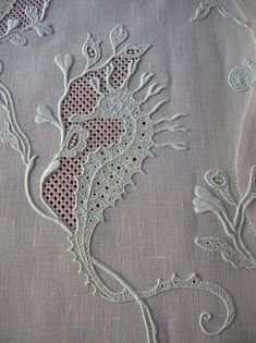 exquisite antique white embroidery and drawn work of seahorse Cutwork Embroidery, White Embroidery, Embroidery Stitches, Embroidery Patterns, Machine Embroidery, Linens And Lace, Antique Lace, Embroidery Techniques, Fabric Art