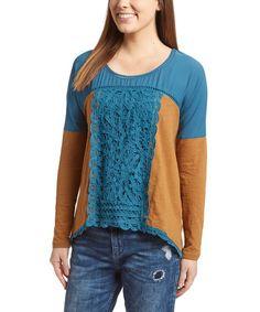 Loving this Blue & Brown Crochet Scoop Neck Top on #zulily! #zulilyfinds