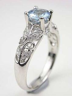 Aquamarine Engagement Ring with Vine and Leaf Motif ... love it ...