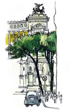 ...and Smart car, they're everywhere in Rome. Sketched quickly during a Peroni pit stop moment.