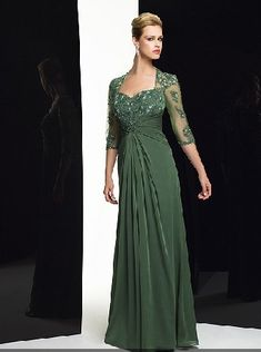 Long sweetheart dark green chiffon 3/4 length pleated lace Mother Of The Bride Dress MBD257110