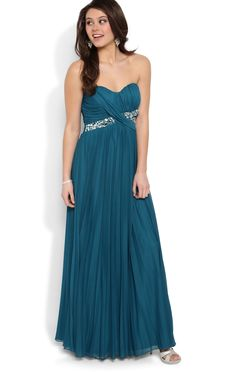 Long Prom Dress with Strapless Stone Ruched Bodice