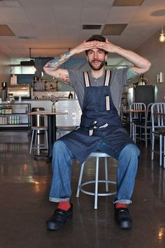 My first apron design. Oh mang! jeff kraus crepe bar 2013 portrait from Chow Bella.