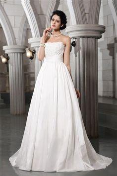 31fb007f799 A-Line Princess Strapless Sleeveless Beading Applique Long Taffeta Wedding  Dresses  taffetaweddingdresses Black
