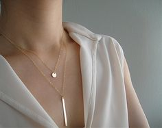 Gold Layering Necklace Set Tiny Gold Disc Necklace by JZCollection