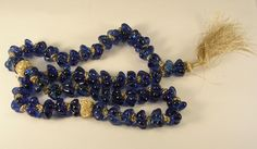 Cobalt Blue with Gold Worry Beads from Saudia Arabia