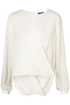 Long Sleeve Drape Front Blouse