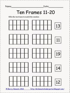 FREEBIE! Ten Frames 11-20 - kindergarten math - common core - K-2 - math centers - guided math groups - Please consider following my store. Thank you!