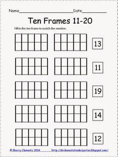 FREEBIE! Ten Frames 11-20 - kindergarten math - common core - K-2 - math centers - guided math groups - Please consider following my store. Thank you!