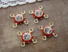 Vintage Swarovski Ruby Red & Clear Crystal by alyssabethsvintage