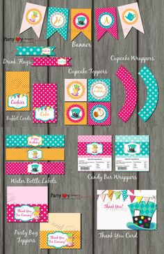 Mad Hatter Birthday Party Printables  by PartyInvitesAndMore