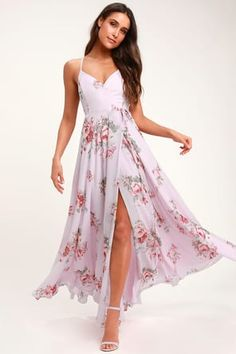 It's impossible to look anything but exquisite in the Elegantly Inclined Lavender Floral Print Wrap Maxi Dress! An elegant floral print wrap maxi dress. Cute Floral Dresses, Floral Print Maxi Dress, Maxi Wrap Dress, Beautiful Dresses, Dress Lace, Women's Dresses, Dresses Online, Dress Skirt, Midi Skirt