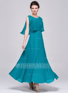 A-Line/Princess V-neck Ankle-Length Chiffon Sequined Mother of the Bride Dress With Ruffle (008058400)