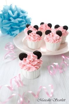 MINI MOUSE CUPCAKES ~ These look much easier...Ü