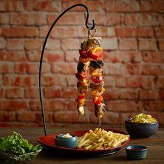 Hanging Kebab Stand Vertical Skewer Holder Restaurant Hotel Home Table Serving Grill Restaurant, Restaurant Design, Pub Food, Cafe Food, Kebab Skewers, Cafe Interior Design, Decoration Table, Creative Food, Food Design