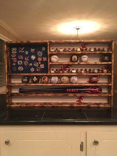 Baseball Flag Championship Ring and Ball Display Case Holder - lieselotte Baseball Hat Display, Baseball Shelf, Baseball Trophies, Baseball Ring, Trophy Display, Award Display, Baseball Room Decor, Baseball Wreaths, Baseball Bats