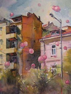 Городские пейзажи, написанные акварелью Художник Kalina Toneva